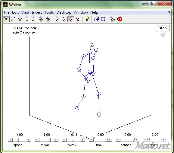一个模拟人走路的matlab程序,有点意思