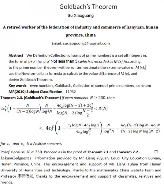 Goldbach's Theorem